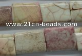 CAG4928 15.5 inches 16*20mm rectangle dyed white agate beads