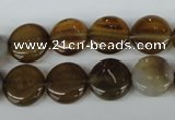 CAG4978 15.5 inches 12mm flat round agate gemstone beads wholesale