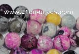 CAG5060 15.5 inches 10mm faceted round fire crackle agate beads