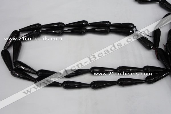 CAG5064 15.5 inches 10*30mm faceted teardrop black agate beads
