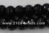 CAG5066 15.5 inches 10*13mm faceted rondelle black agate beads