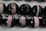 CAG5153 15 inches 12mm faceted round tibetan agate beads wholesale