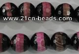 CAG5154 15 inches 12mm faceted round tibetan agate beads wholesale
