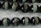 CAG5155 15 inches 12mm faceted round tibetan agate beads wholesale