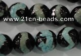 CAG5169 15 inches 14mm faceted round tibetan agate beads wholesale