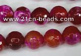 CAG5184 15 inches 12mm faceted round fire crackle agate beads
