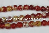 CAG5186 15 inches 6mm faceted round fire crackle agate beads