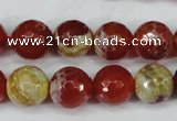 CAG5189 15 inches 12mm faceted round fire crackle agate beads