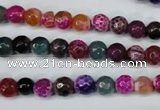 CAG5191 15 inches 6mm faceted round fire crackle agate beads