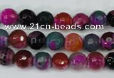 CAG5192 15 inches 8mm faceted round fire crackle agate beads