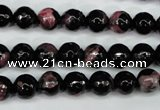 CAG5198 15 inches 8mm faceted round fire crackle agate beads