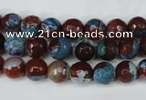 CAG5207 15 inches 8mm faceted round fire crackle agate beads