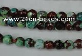 CAG5214 15 inches 6mm faceted round fire crackle agate beads