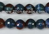 CAG5217 15 inches 10mm faceted round fire crackle agate beads