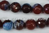 CAG5218 15 inches 12mm faceted round fire crackle agate beads