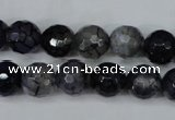 CAG5228 15 inches 10mm faceted round fire crackle agate beads