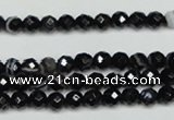CAG5271 15.5 inches 4mm faceted round black line agate beads