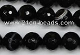 CAG5275 15.5 inches 12mm faceted round black line agate beads
