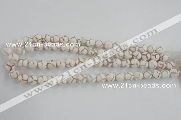 CAG5334 15.5 inches 10mm faceted round tibetan agate beads wholesale