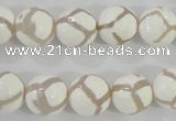 CAG5335 15.5 inches 12mm faceted round tibetan agate beads wholesale