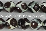 CAG5341 15.5 inches 14mm faceted round tibetan agate beads wholesale