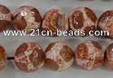CAG5360 15.5 inches 14mm faceted round tibetan agate beads wholesale