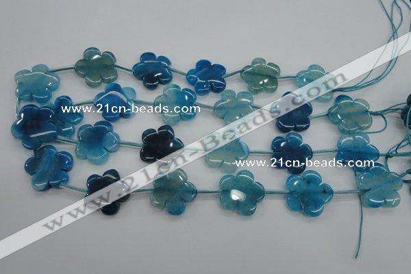 CAG5394 15.5 inches 24mm carved flower dragon veins agate beads
