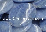 CAG562 16 inches 30*40mm oval blue agate gemstone beads wholesale