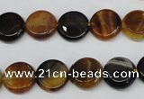 CAG5626 15 inches 12mm flat round dragon veins agate beads