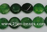 CAG5629 15 inches 12mm flat round dragon veins agate beads