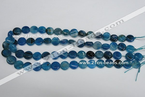 CAG5631 15 inches 12mm flat round dragon veins agate beads
