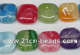 CAG5636 15 inches 14*14mm square dragon veins agate beads
