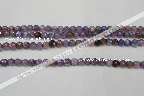 CAG5652 15 inches 4mm faceted round fire crackle agate beads