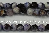 CAG5654 15 inches 4mm faceted round fire crackle agate beads