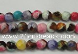 CAG5661 15 inches 4mm faceted round fire crackle agate beads