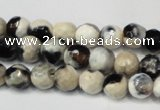 CAG5665 15 inches 6mm faceted round fire crackle agate beads