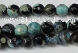 CAG5670 15 inches 6mm faceted round fire crackle agate beads