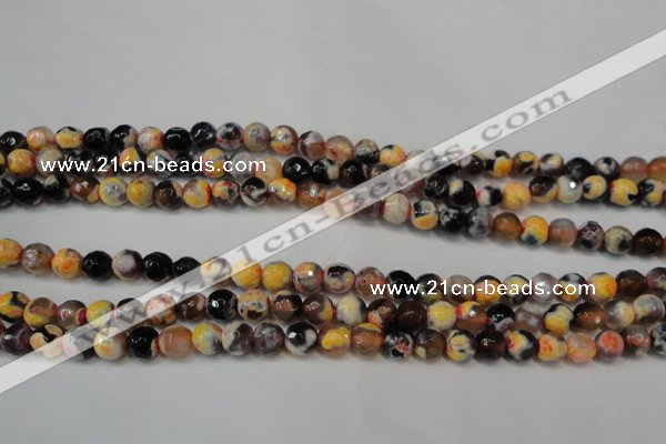 CAG5671 15 inches 6mm faceted round fire crackle agate beads