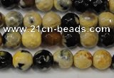 CAG5672 15 inches 6mm faceted round fire crackle agate beads