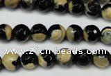 CAG5683 15 inches 8mm faceted round fire crackle agate beads