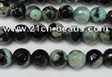 CAG5685 15 inches 8mm faceted round fire crackle agate beads