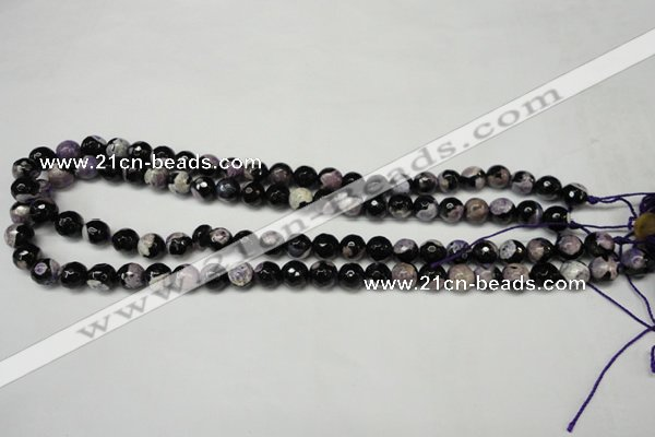 CAG5686 15 inches 8mm faceted round fire crackle agate beads