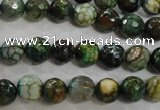 CAG5695 15 inches 8mm faceted round fire crackle agate beads