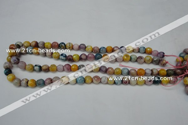 CAG5700 15 inches 8mm faceted round fire crackle agate beads