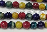 CAG5701 15 inches 8mm faceted round fire crackle agate beads