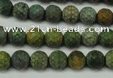 CAG5702 15 inches 8mm faceted round fire crackle agate beads