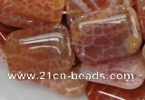 CAG571 15.5 inches 30*40mm rectangle natural fire agate beads