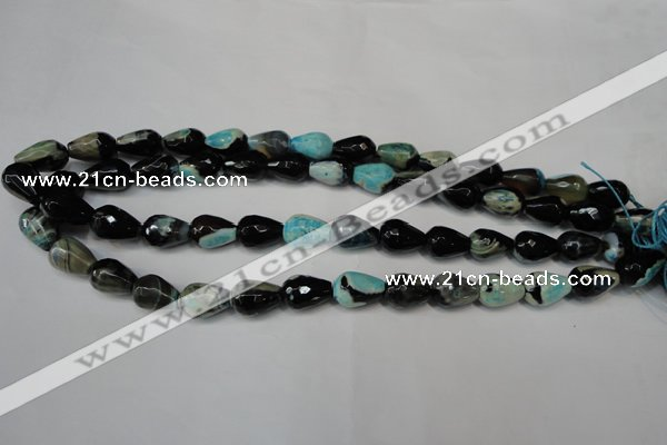 CAG5717 15 inches 10*14mm faceted teardrop fire crackle agate beads