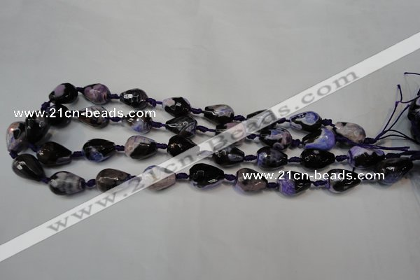 CAG5720 15 inches 12*16mm faceted teardrop fire crackle agate beads