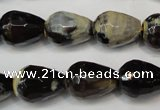 CAG5724 15 inches 12*16mm faceted teardrop fire crackle agate beads